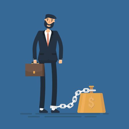 Business man chained to his big heavy debt weight with shackles. Businessman corporate slavery concept. Flat style Illustration