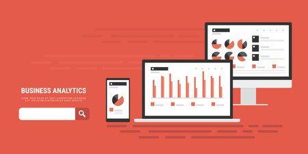 flat style concept banner of business analytics, analytical information search, market analysis, marketing and promotion