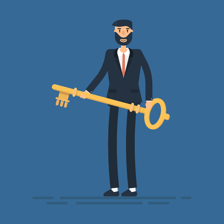 Businessman or manager holds a golden key in his hand.