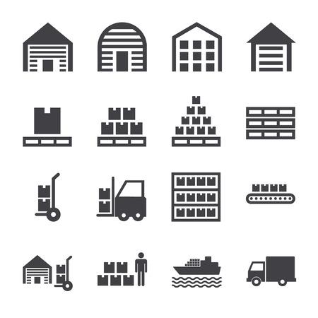 Set of warehouse logistic storage vector black icons 向量圖像