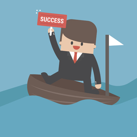 Vector cartoon illustration of businessman paddling with wooden vector illustration. Ilustração