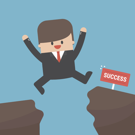 Businessman jump through the gap from one cliff to another vector illustration.