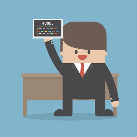 Vector Flat Illustration of a Man With Laptop, programmer 向量圖像
