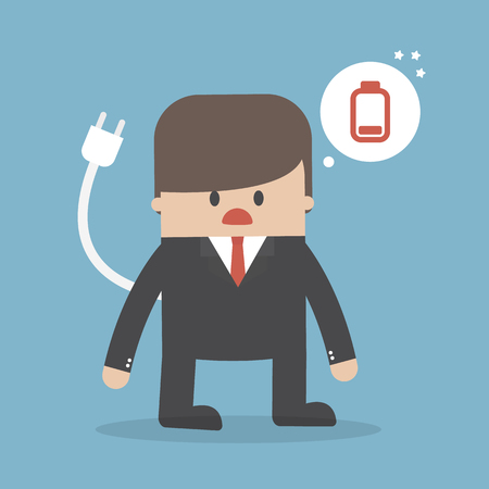 Business concept, Businessman feeling tired and low battery  Vector illustration.