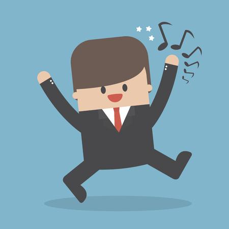 Businessman good-humored rushing singing vector illustration.