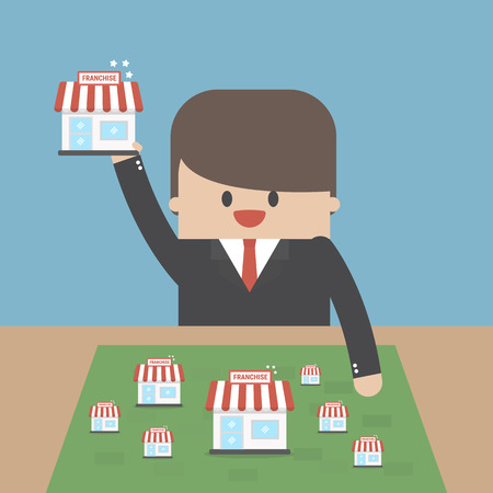Franchising concept with a businessman icon. Illustration