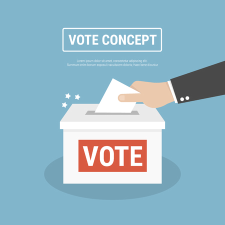 Voting concept in flat style  hand putting paper in the ballot box
