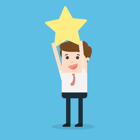 Businessman Hands Catching Gold Star, Success Concept Vector illustration.