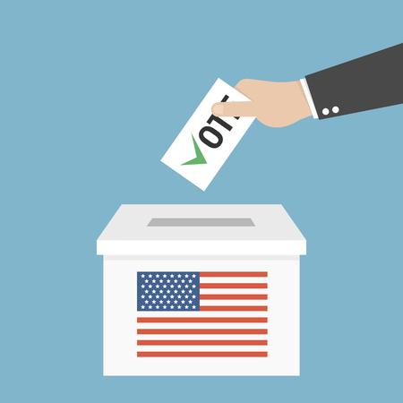 Persona de la urna que echa el voto, mano que pone el papel en la urna