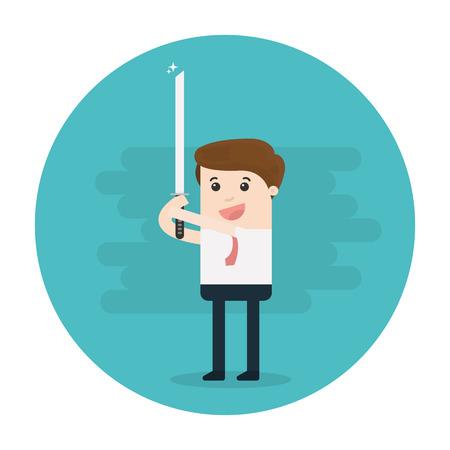 businessman holding katana sword Vector illustration.