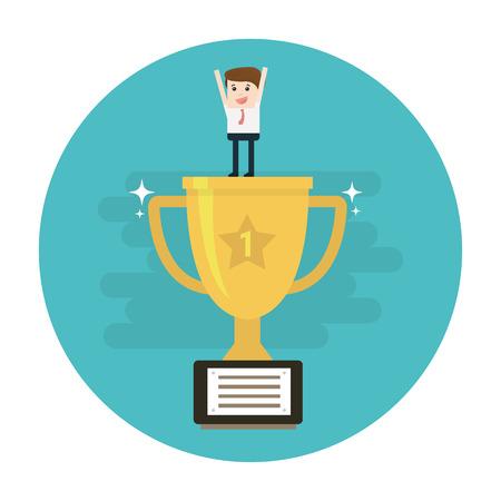 Winner business concept. Business success Vector illustration.