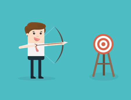 A businessman aiming the target with bow and arrow