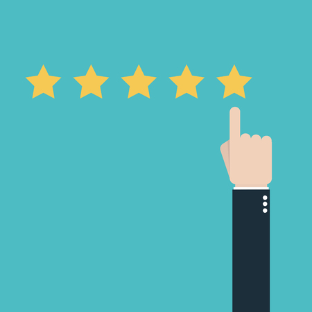 Customer review concept with five stars. 일러스트