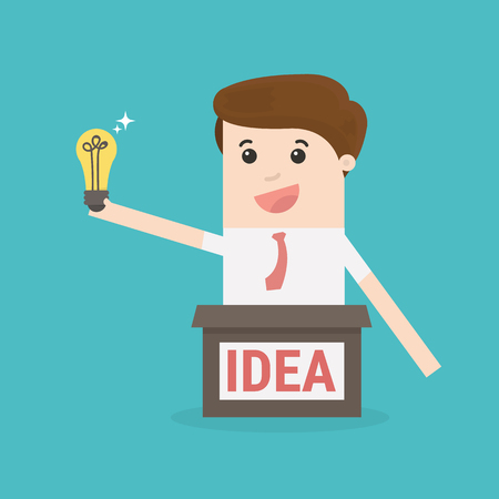 Businessman thinks out of the box to get idea. Illustration