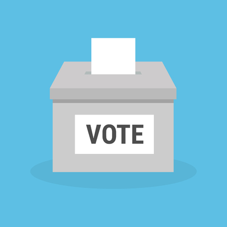 Ballot box with a vote on a blue background