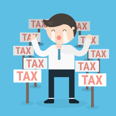 Cartoon businessman with a lot of tax signs. Illustration