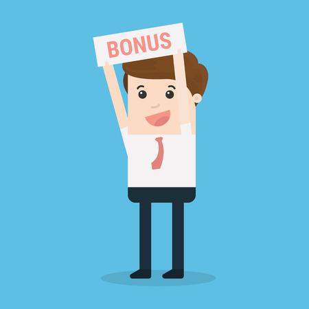 Businessman with bonus sign