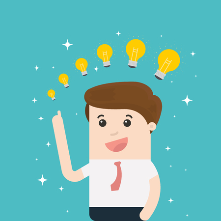 Businessman with different size of idea bulbs vector