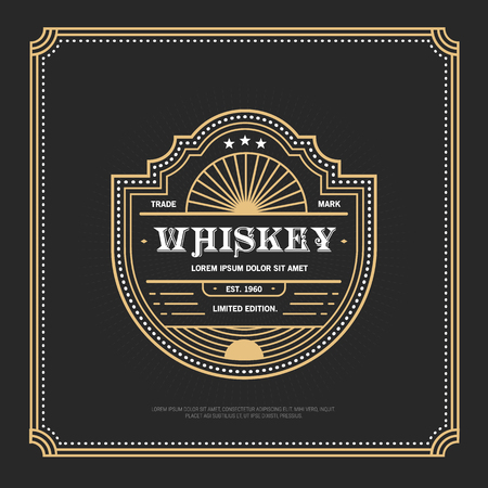 Vintage frame design for labels, banner, sticker and other design. Suitable for whiskey, beer and premium product.