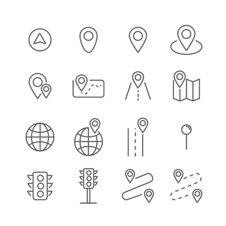 Route Related Vector Line Icons Illustration