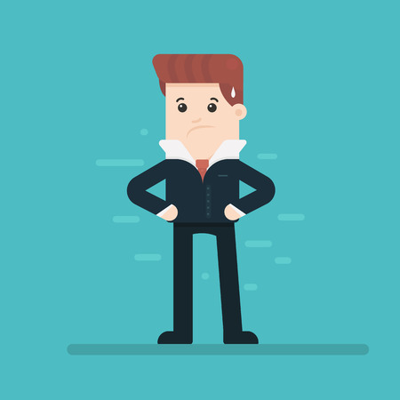 Depressed tired businessman. Sad and stressed out hard worker. Business concept. Vector illustration