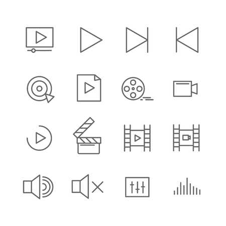 Film, video, shooting, editing and more, thin line icons set, vector illustration Illustration