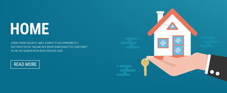 Hand agent with home in palm and key on finger. Offer of purchase house, rental of Real Estate. Giving, offering, demonstration, handing house keys.  Vettoriali