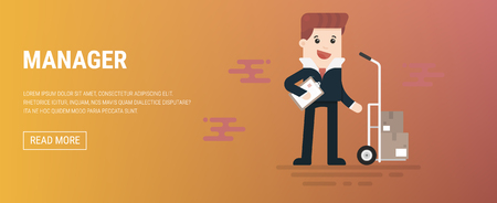 Man in suit, businessman, manager or logistic stands near boxes. Vector, illustration, flat
