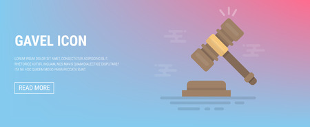 Gavel icon. Court, judgment, bid, auction concepts. Judge gavel, auction hammer. Flat icon. Modern flat design graphic elements. Vector illustration.