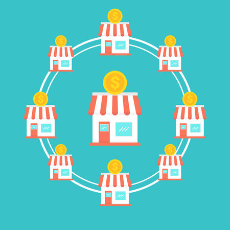 Franchise-Business-Konzept, Franchise-Marketing-System