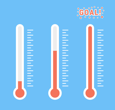 A vector clip art set of goal thermometers at different levels with degrees