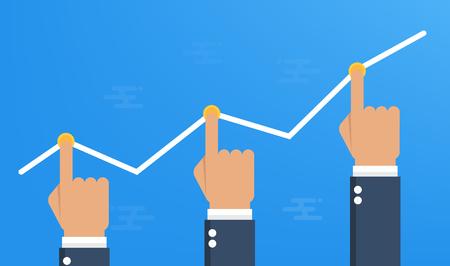 Manos empujando el gráfico de negocios hacia arriba.