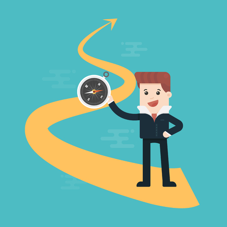 Businessman with compass on arrow direction success