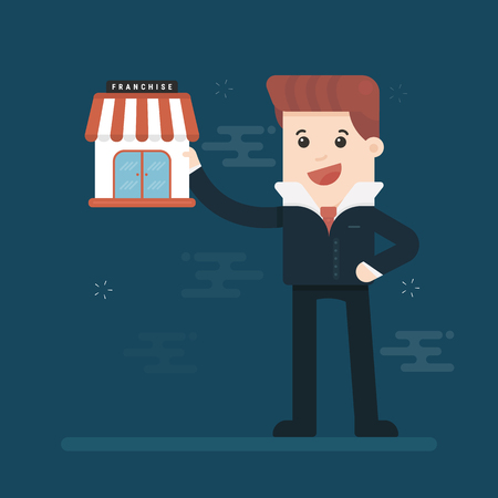 Businessman want to expand his business, franchise concept. business concept. Illustration
