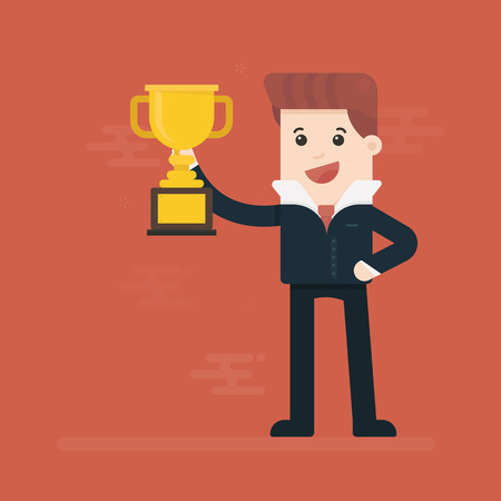 Businessman holding winning trophy isolated on plain background. Illustration