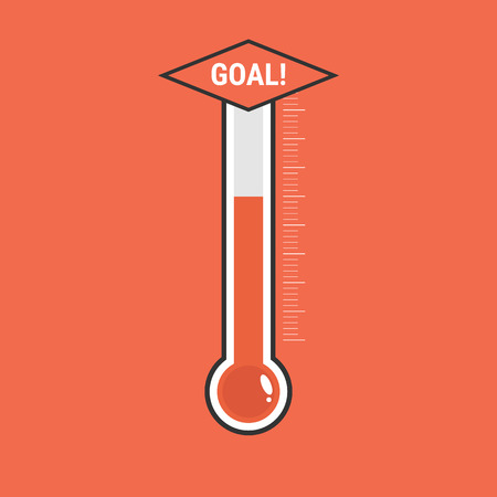 Goal thermometer icon. 向量圖像