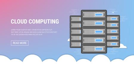 Cloud servers flat illustration.