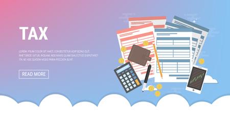 Tax calculation flat icon concept illustration. 向量圖像