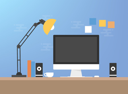 Computer desk interior concept illustration.