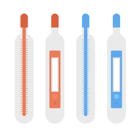 Set of thermometers in different colors 向量圖像