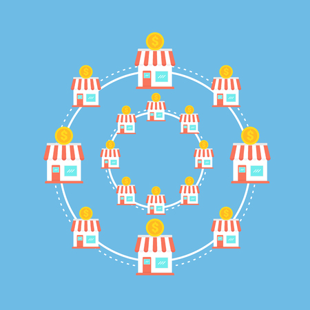 Franchise marketing system business concept illustration. 向量圖像