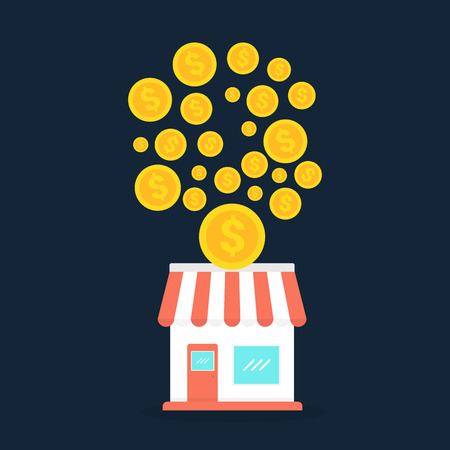 Small store with gold coins, franchise business concept illustration.