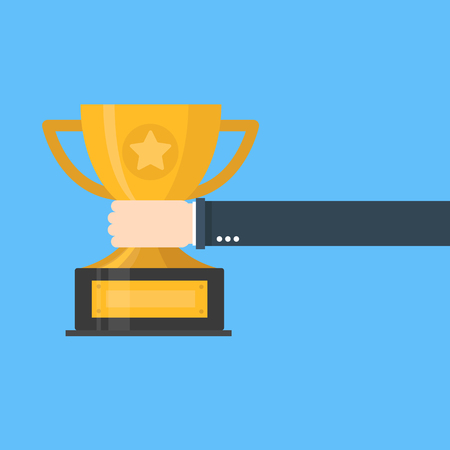 Creative flat design  concept illustration of businessman hand holding gold cup award icon. 向量圖像