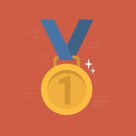 Gold medal for first place flat illustration. 向量圖像