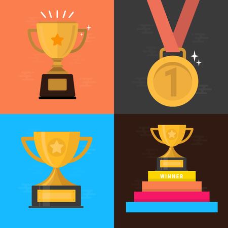 Set of award icons in flat style illustration. 向量圖像