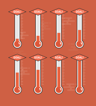 Set of goal thermometers at different levels on red background. 向量圖像