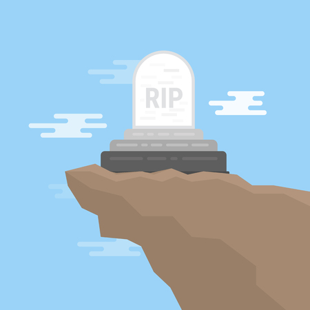 Grave flat icon illustration on the tip of a moutain