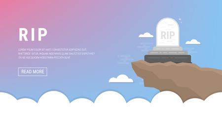 Grave flat icon illustration.
