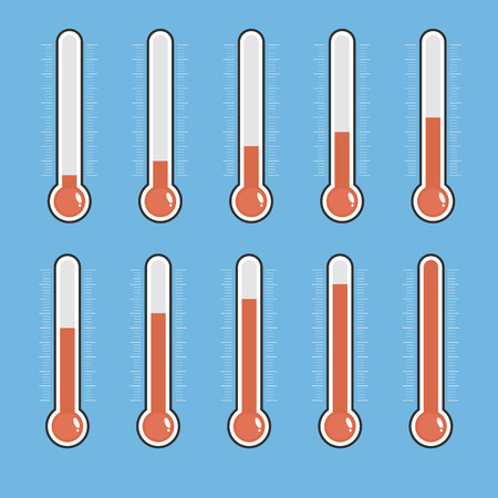Set of red thermometers with different levels.