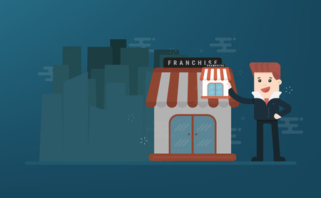 Businessman want to expand his business, franchise concept flat illustration.